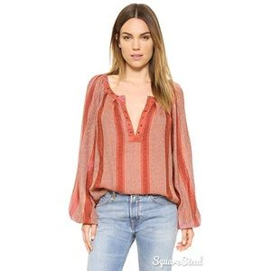 Free People Against All Odds Pink Stripe Blouse